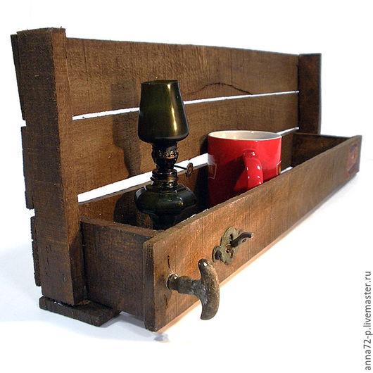 Мебель ручной работы. Ярмарка Мастеров - ручная работа. Купить Полка навесная дерево (авторская работа). Handmade. Коричневый