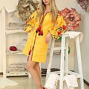 Одежда handmade. Livemaster - original item Yellow tunic with embroidery. Handmade.
