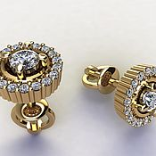 Украшения handmade. Livemaster - original item Baby Diamonds.  Earrings gold with diamonds. Handmade.