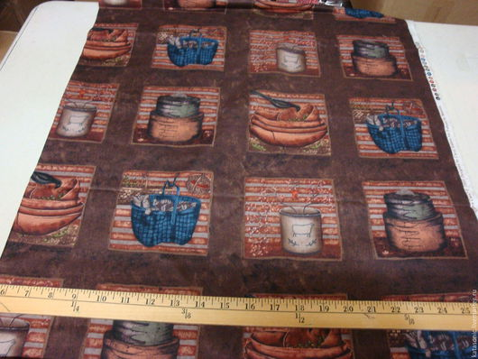 Шитье ручной работы. Ярмарка Мастеров - ручная работа. Купить 1228 Американская ткань. Handmade. Коричневый, купонная ткань, купон