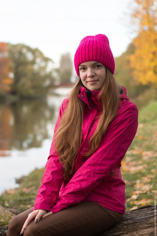 Шапки ручной работы. Ярмарка Мастеров - ручная работа. Купить Яркая розовая шапка. Осенняя шапка. Вязаная обьемная шапка. Handmade.