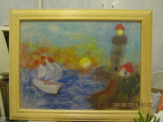 """Пейзаж ручной работы. Ярмарка Мастеров - ручная работа. Купить картина """"Кораблик"""". Handmade. 100% шерсть войлок"""