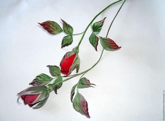 Интерьерные композиции ручной работы. Ярмарка Мастеров - ручная работа. Купить Бутонные красные розы из бархата и шелка для интерьера. Handmade.