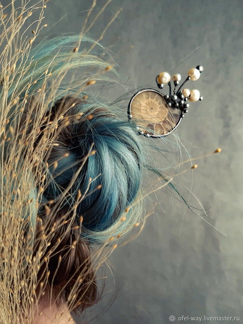Hairpin with Ammonite and natural pearls, Hairpins, St. Petersburg,  Фото №1