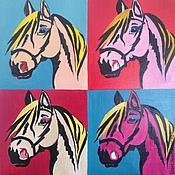 Картины и панно ручной работы. Ярмарка Мастеров - ручная работа Голова лошади в стиле Мерилин от Уорхола. Handmade.