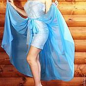 """Одежда ручной работы. Ярмарка Мастеров - ручная работа Платье длинное бандо """"Голубая гипюрка"""". Handmade."""