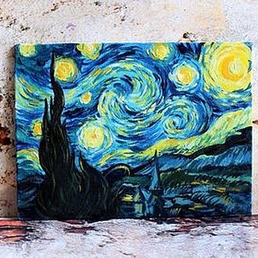 """Картины и панно ручной работы. Ярмарка Мастеров - ручная работа Картина маслом """"Звездная ночь"""" Ван Гог вольная копия. Handmade."""