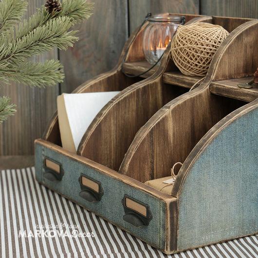 """Мебель ручной работы. Ярмарка Мастеров - ручная работа. Купить Бюро """"Denim"""". Handmade. Коричневый, мужской подарок, настольный органайзер"""