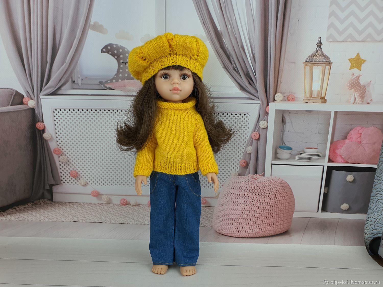 комплект: джинсы, свитер и берет, Одежда для кукол, Чита,  Фото №1