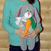Куклы и игрушки handmade. Livemaster - original item Large knitted Bunny with carrot. Handmade.
