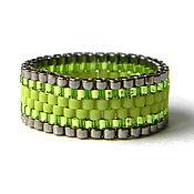 Украшения ручной работы. Ярмарка Мастеров - ручная работа Яркое кольцо из бисера, зеленое кольцо, салатовое кольцо. Handmade.