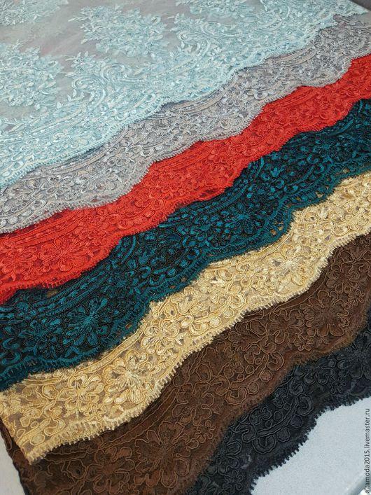 Шитье ручной работы. Ярмарка Мастеров - ручная работа. Купить Кружево на сетке  с сутажной нитью 7 цветов. Итальянские ткани. Handmade.