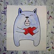 Открытки ручной работы. Ярмарка Мастеров - ручная работа `Песнь любви кота`. Handmade.