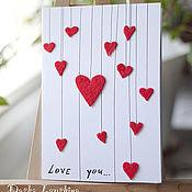 Открытки ручной работы. Ярмарка Мастеров - ручная работа Открытка Love you.... Handmade.