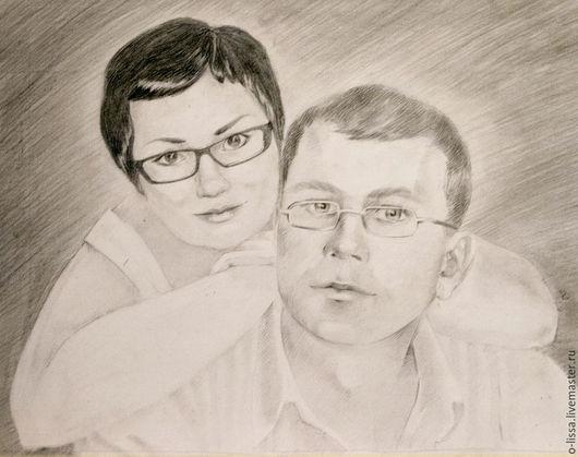 Люди, ручной работы. Ярмарка Мастеров - ручная работа. Купить Портрет семейной пары. Handmade. Чёрно-белый, лицо, люди