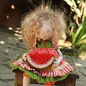 Куклы и игрушки ручной работы. Ярмарка Мастеров - ручная работа Девочка с арбузиком.  Текстильная авторская кукла. Handmade.