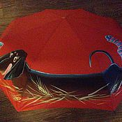 Аксессуары ручной работы. Ярмарка Мастеров - ручная работа Зонт с росписью -  Таксик в носочках. Handmade.