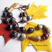 """Украшения ручной работы. Ярмарка Мастеров - ручная работа Колье и серьги """"Осень. Глубина"""". Handmade."""