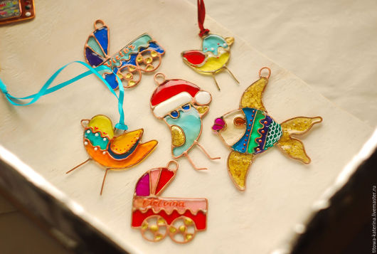 Подвески ручной работы. Ярмарка Мастеров - ручная работа. Купить Елочные игрушки из гранулированного стекла. Handmade. Игрушки, стекло