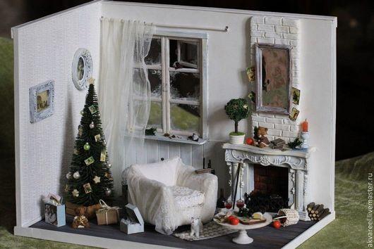 """Кукольный дом ручной работы. Ярмарка Мастеров - ручная работа. Купить Румбокс """"Этюд в белых тонах"""".. Handmade. Румбокс, рождество"""