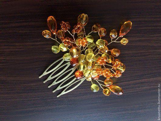 Свадебные украшения ручной работы. Ярмарка Мастеров - ручная работа. Купить Калейдоскоп гребней. Handmade. Комбинированный, сиреневый, желтый