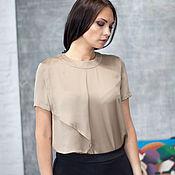 Одежда handmade. Livemaster - original item Silk blouse with short sleeves. Handmade.