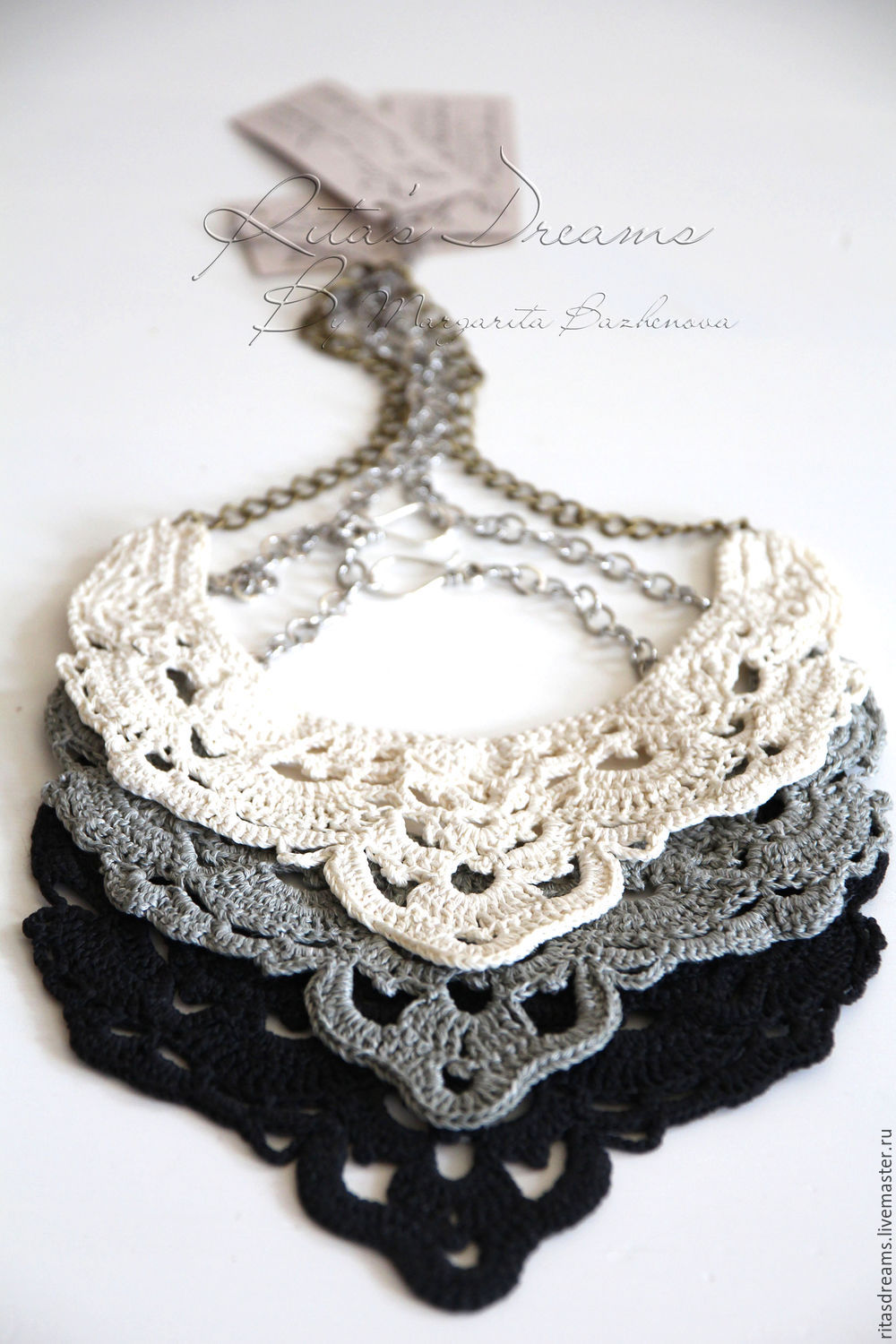 Openwork crochet chain necklace is available in three color options: milk white, gray and black.
