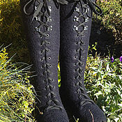 Обувь ручной работы. Ярмарка Мастеров - ручная работа Валяные сапоги на шнуровке. Handmade.