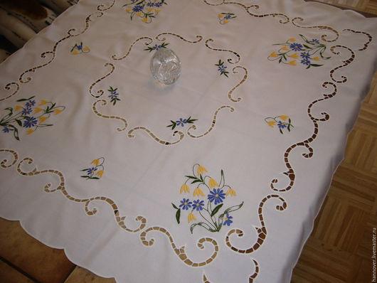 Винтажные предметы интерьера. Ярмарка Мастеров - ручная работа. Купить Милая нежная скатерть для чайного стола «Полевые цветы», 82см х 83см,. Handmade.