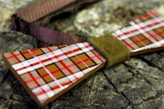 """Галстуки, бабочки ручной работы. Ярмарка Мастеров - ручная работа. Купить Деревянная галстук-бабочка """"Шотландия"""". Handmade. Коричневый, дерево"""