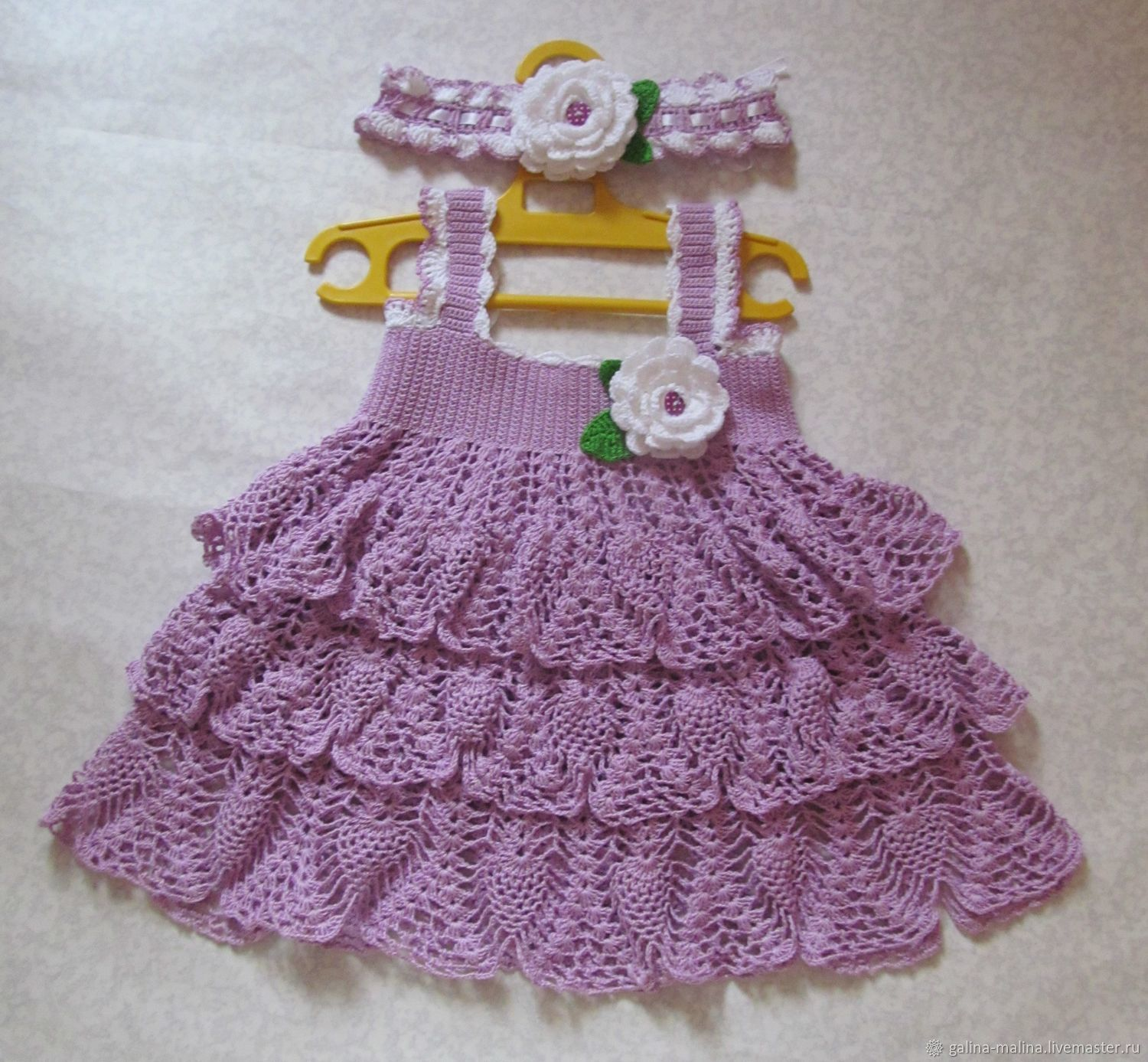 Baby dress with headband 'lilac', Childrens Dress, Penza,  Фото №1