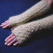 Аксессуары handmade. Livemaster - original item Women`s knitted long fingerless gloves Zigzag of fortune. Handmade.