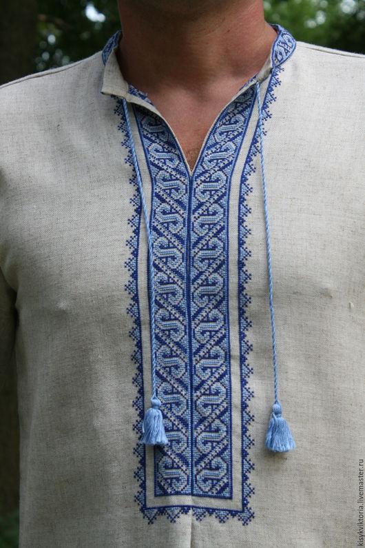 Для мужчин, ручной работы. Ярмарка Мастеров - ручная работа. Купить Мужская рубашка вышита крестом. Handmade. Серый, вышивка
