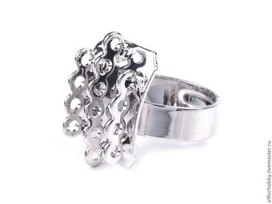 Для украшений ручной работы. Ярмарка Мастеров - ручная работа. Купить Основа для кольца с петельками универсальный размер платина. Handmade.