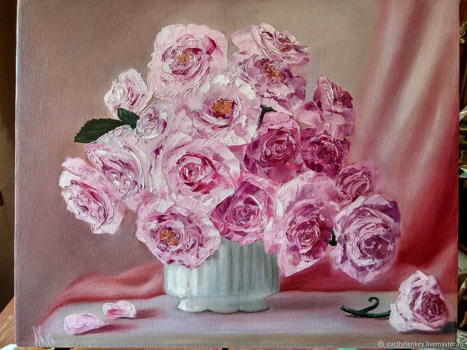 Oil painting Pink roses, Pictures, Belaya Kalitva,  Фото №1