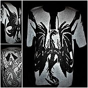 Мужская одежда handmade. Livemaster - original item Men`s jumpers: Knitted from flax.Men`s shirt Dragon and Phoenix. Handmade.