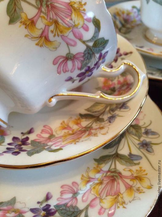 Винтажная посуда. Ярмарка Мастеров - ручная работа. Купить Винтажная чайная пара. Английский костяной фарфор.. Handmade. Белый