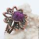 """Кольца ручной работы. Кольцо """"Рубиновый цветок"""" (натуральные камни, рубин) 49/53. cuprum_nature. Ярмарка Мастеров. Кольцо, перстень"""