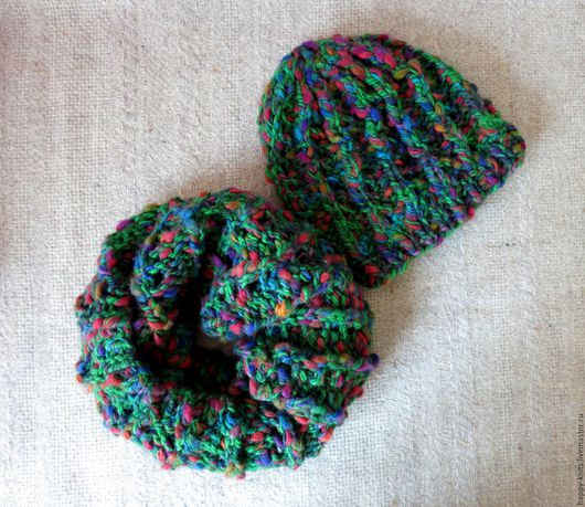 Шапка и снуд Funky Green из толстой фантазийной пряжи, весенний комплект из шапки и снуда в два оборота