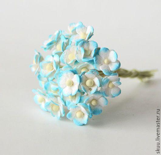 Открытки и скрапбукинг ручной работы. Ярмарка Мастеров - ручная работа. Купить Мини лютики бело-голубые 5 шт 1 см. Handmade.