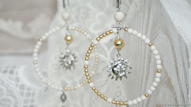 White ring earrings with tassels ' Gentle sun', Tassel earrings, Moscow,  Фото №1