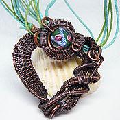 Necklace handmade. Livemaster - original item Calico heart pendant, copper, lampwork, waxed cord.. Handmade.