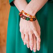 """Украшения ручной работы. Ярмарка Мастеров - ручная работа Комплект браслетов """"Девушка-осень""""(рыжий,желтый,коричневый). Handmade."""