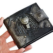 Хищник - Кожаное портмоне - Подарок мужчине - подарок парню - кошелёк