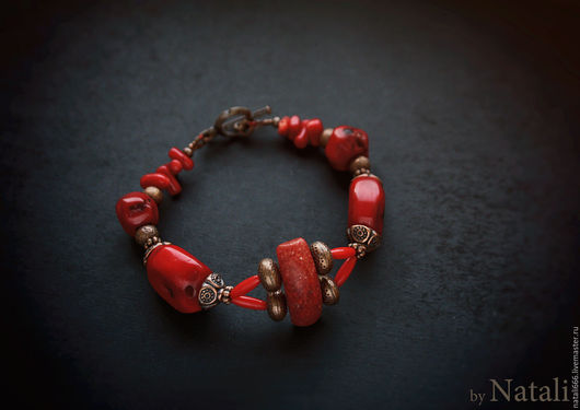 """Браслеты ручной работы. Ярмарка Мастеров - ручная работа. Купить Браслет """"Kalakmul"""" - натуральные кораллы. Handmade. Красный браслет"""