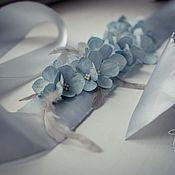 Свадебный салон ручной работы. Ярмарка Мастеров - ручная работа Пояс с голубой гортензией. Handmade.