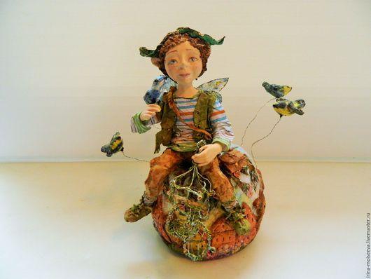 Коллекционные куклы ручной работы. Ярмарка Мастеров - ручная работа. Купить Весенние хлопоты маленького эльфа. Handmade. Голубой, Паперклей