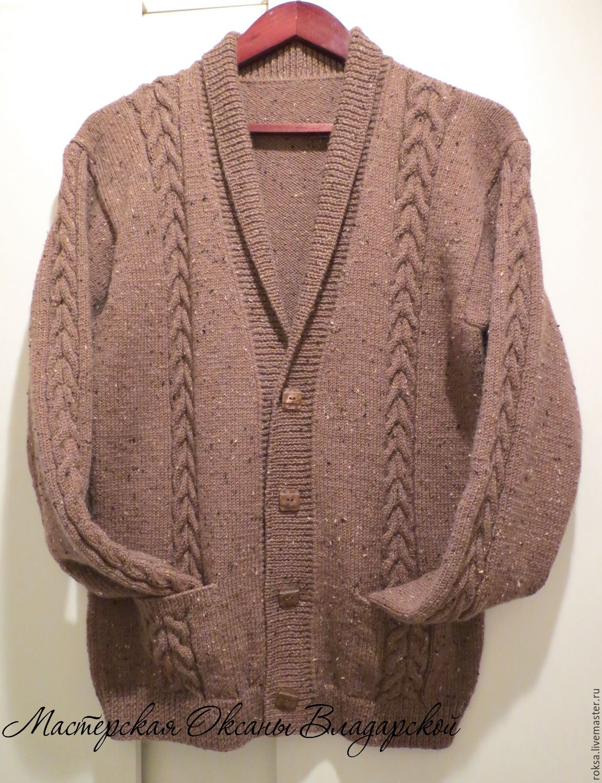 Men's knitted cardigan'Chocolate', Mens jumpers, St. Petersburg,  Фото №1