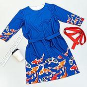 """Одежда ручной работы. Ярмарка Мастеров - ручная работа Платье """"Карпы Кои"""" с поясом. Handmade."""