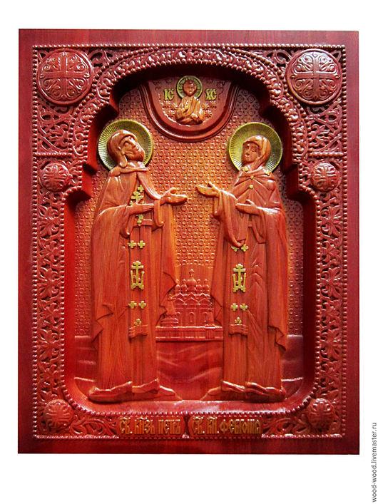 Иконы ручной работы. Ярмарка Мастеров - ручная работа. Купить Резная икона святых ПЕТРА И ФЕВРОНЬИ из натурального дерева (ясень). Handmade.
